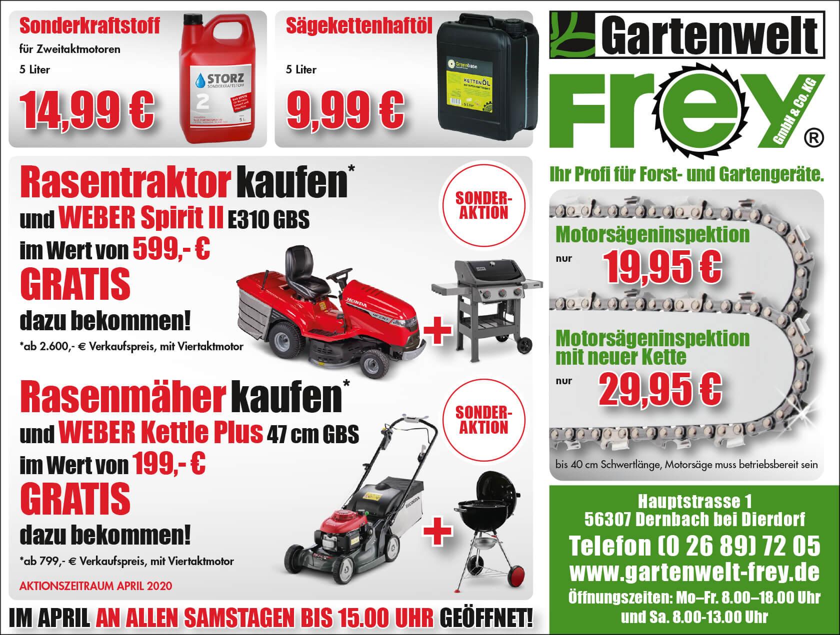 GARTENWELT FREY in Dernbach – Ihr Profi für Forst- und Gartengeräte – unsere Angebote im April